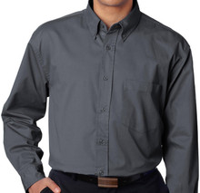 Big & Tall Men's UltraClub Dress Shirt, Dark Gray, Full Image