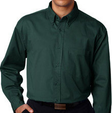 Big & Tall Men's UltraClub Dress Shirt, Forest Green, Full Image