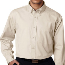 Big & Tall Men's UltraClub Dress Shirt, Light Khaki, full image