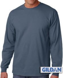 Gildan Cotton Long Sleeve T-Shirt 3XL Medium Blue #421