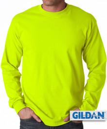 Gildan Cotton Long Sleeve T-Shirt 5XL Safety Green #426