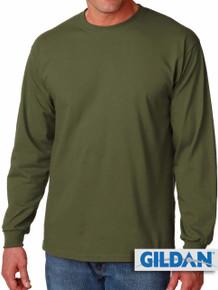 Gildan Cotton Long Sleeve T-Shirt 3XL 4XL 5XL Olive #427