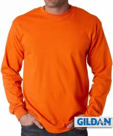 Gildan Cotton Long Sleeve T-Shirt 3XL Orange #428