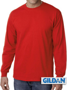 Gildan Cotton Long Sleeve T-Shirt 4XL 5XL Red #430