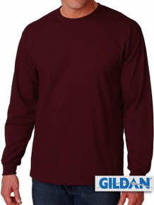 Big Men's Gildan Cotton Long Sleeve T-Shirt 4XL 5XL Burgundy #433