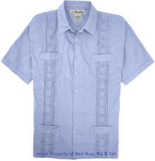 Big Men's Foxfire Guayabera Short Sleeve Shirt, Light Blue, Full Image