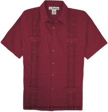 Big Men's Foxfire Guayabera Short Sleeve Shirt, Burgundy, Full Image