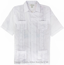 Big Men's Foxfire Guayabera Short Sleeve Shirt, White, Full Image