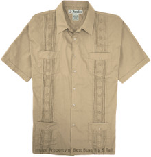 Big Men's Foxfire Guayabera Short Sleeve Shirt, Khaki, Full Image