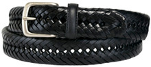 big men's black braided leather belt