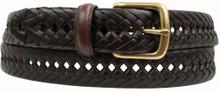 big men's brown braided leather belt