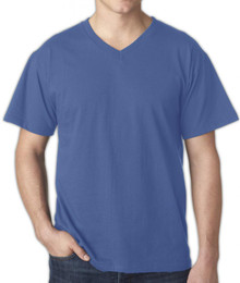 Falcon Bay BLUE V-Neck Cotton T-Shirt 4XL 6XL #1168