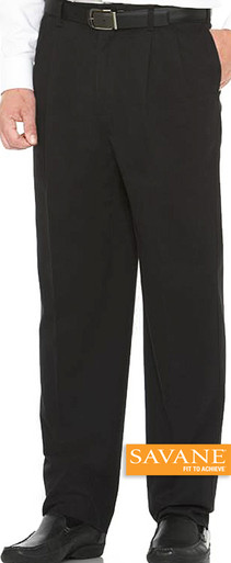 Big Men's Pleated Casual Pants by Savane Perry Ellis Black gallery image