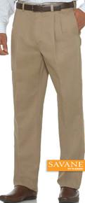 Big Men's Pleated Casual Pants by Savane Perry Ellis Light Brown gallery image