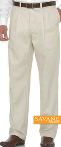 Big Men's Pleated Casual Pants by Savane Perry Ellis Light Khaki gallery image