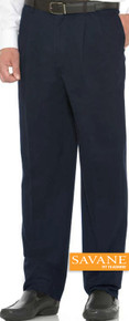 Big Men's Pleated Casual Pants by Savane Perry Ellis Navy gallery image
