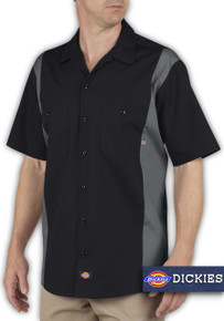 Big & Tall Men's Dickies Two-Tone Work Shirt, Black and Charcoal, Full Image