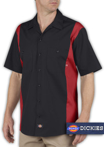 Big & Tall Men's Dickies Two-Tone Work Shirt, Red and Black, Full Image