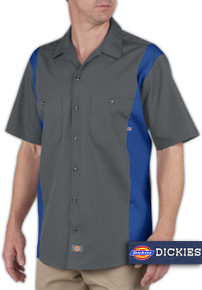 Big & Tall Men's Dickies Two-Tone Work Shirt, Gray and Blue, Full Image