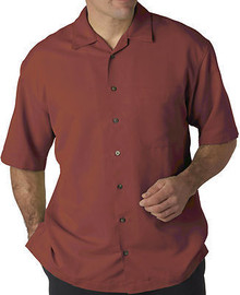 Big Men's UltraClub Cabana Casual Shirt, Brick Red,