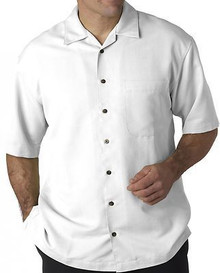 Big Men's UltraClub Cabana Casual Shirt, White, Full Image