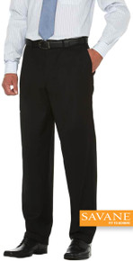 Big Men's Quality Dress Pants FLAT FRONT Savane Select Edition Black gallery image