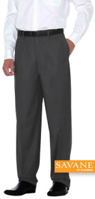 Big Men's Quality Dress Pants FLAT FRONT Savane Select Edition Charcoal gallery image