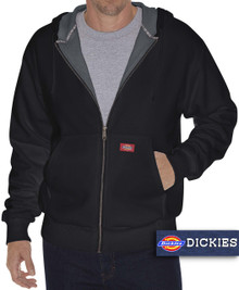 Big & Tall Men's Dickies Full Zip Fleece Hoodie Thermal Lined 3XL-5XL 2XLT 3XLT Black FRONT