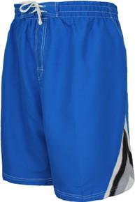 Big Men's Blue color block swim trunks by Falcon Bay
