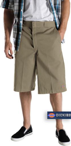 Dickies Khaki Multi-Pocket Work Shorts Long Length