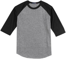 Baseball 3/4 Sleeve Raglan T-Shirt 3XL 6XL Gray/Black #590B