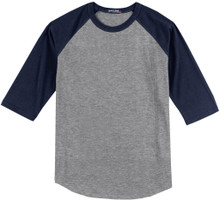Baseball 3/4 Sleeve Raglan T-Shirt 3XL - 6XL Gray/Navy #590C