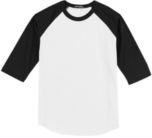 Baseball 3/4 Sleeve Raglan T-Shirt 3XL 6XL White/Black #590D