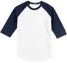 Baseball 3/4 Sleeve Raglan T-Shirt 3XL 5XL White/Navy #590