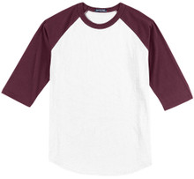 Baseball 3/4 Sleeve Raglan T-Shirt 3XL White/Wine #590F