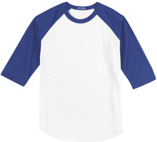 Baseball 3/4 Sleeve Raglan T-Shirt 3XL 6XL White/Blue #590G