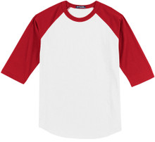Baseball 3/4 Sleeve Raglan T-Shirt 6XL White/Red #590H