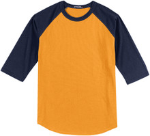 Baseball 3/4 Sleeve Raglan T-Shirt 3XL 4XL Yellow/Navy #590J