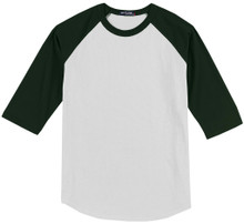 Baseball 3/4 Sleeve Raglan T-Shirt 3XL - 6XL White/Green #590K