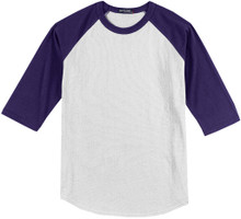 Baseball 3/4 Sleeve Raglan T-Shirt 3XL White/Purple #590L