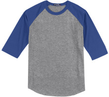 Baseball 3/4 Sleeve Raglan T-Shirt 3XL - 6XL Gray/Royal #590N
