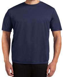 Tall Men's Moisture-Wicking Performance T-Shirt 2XLT 3XLT 4XLT Solid Navy Front