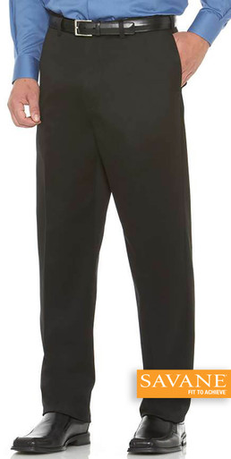 Big Men's Flat Front Casual Pants by Savane Perry Ellis Black full image