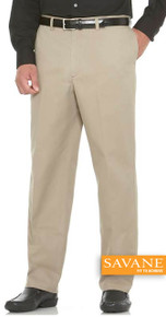 Big Men's Flat Front Casual Pants by Savane Perry Ellis Khaki full image