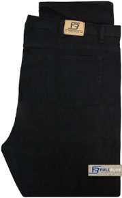 Big & Tall Men's Denim Jeans Fixed Waist Black folded image