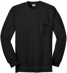 Gildan Long Sleeve POCKET T-Shirt Black