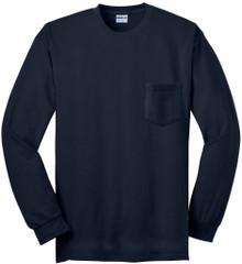 Gildan Long Sleeve POCKET T-Shirt Navy