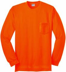 Gildan Long Sleeve POCKET T-Shirt Bright Orange