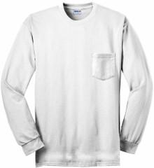 Gildan Long Sleeve POCKET T-Shirt White