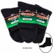 Big & Tall Men's Extra Wide Socks ATHLETIC QUARTER 3-Pack BLACK Size 11-16
